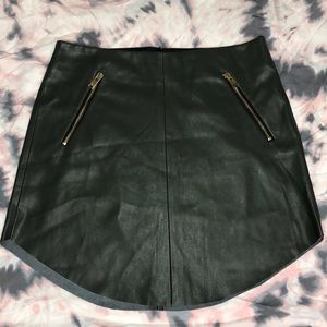 Zara Army Green Faux Leather Skirt Small